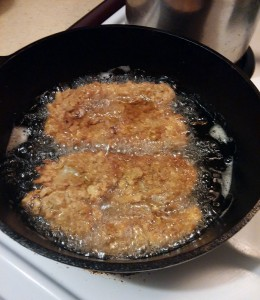 Steak Fried Chicken in the skillet - The Surprised Gourmet