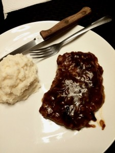 Non-traditional Salisbury Steak with potatoes - thesuprisedgourmetcom
